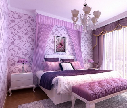 客厅电视背景墙淡紫色