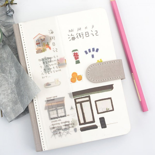 海街日记压纹棉布磁扣笔记本
